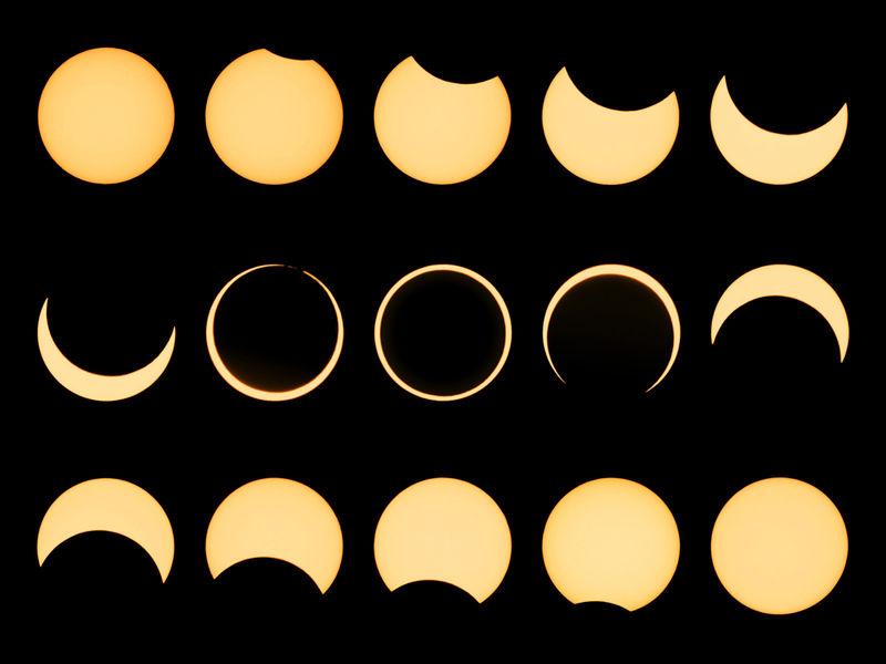 Sequência de um Eclipse Anular do Sol – outubro de 2005
