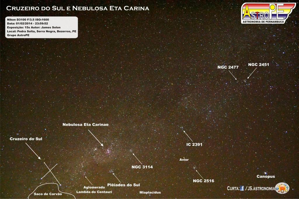 Cruzeiro do Sul e Nebulosa Eta Carina - Bezerros - fevereiro - 2014