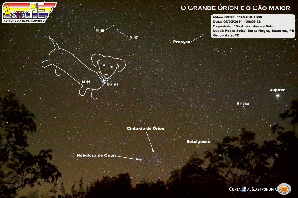 Constelação do Cão Maior e Órion - Bezerros - fevereiro - 2014