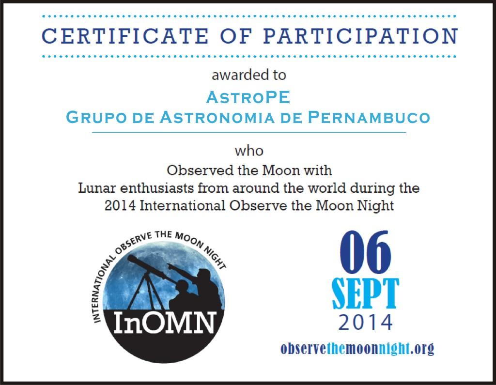 Certificado - InOMN - AstroPE - 2014
