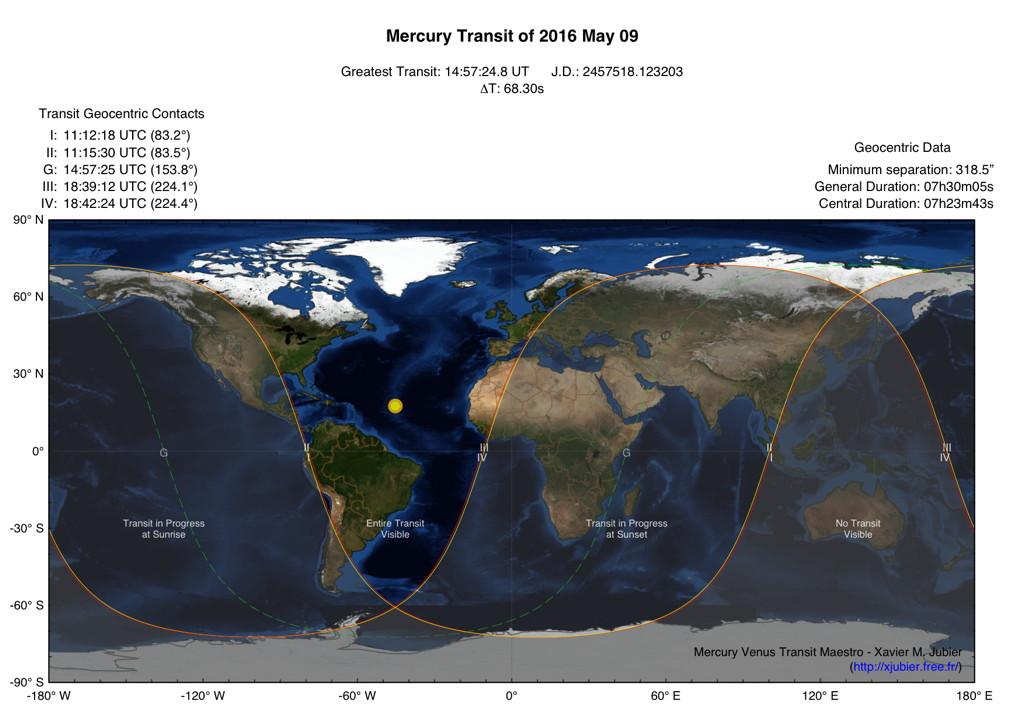 Trânsito de Mercúrio em 9 de maio de 2016 - visibilidade em todo o Brasil.