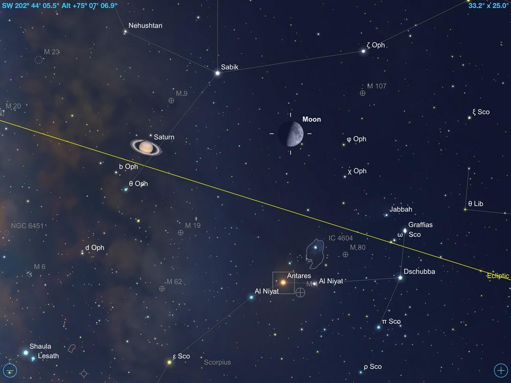 29-08-2017 - Conjunção - Lua Quarto Crescente, Saturno e Antares.