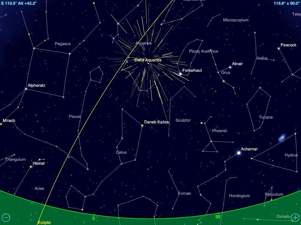 Radiante da Chuva de Meteoros Delta Aquarídeos localizado na constelação de Aquário - visível a partir da meia-noite de 30 de julho de 2017 (data auge do fenômeno).
