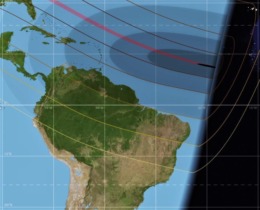 Visibilidade do eclipse solar parcial de 21-08-2017 no Brasil. O fenômeno varia entre 41% de parcialidade em Macapá-AP, na Região Norte do país. E apenas 0,5% em Goiânia-GO, na Região Centro-Oeste.