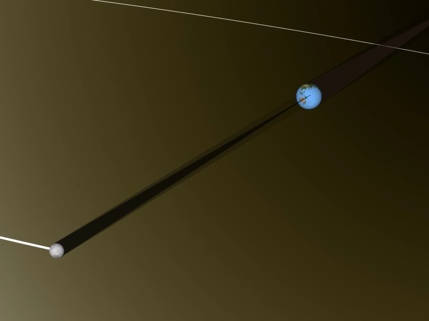 Representação em escala do eclipse solar total - destaque para a sombra da Lua projetada sobre a Terra.