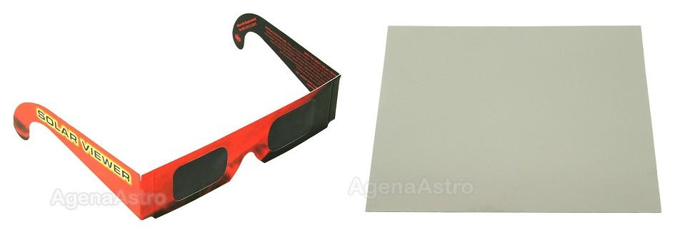 Óculos (à esquerda) e folha do filtro de polímero preto tipo Thousand Oaks (marca). Os modelos mais recentes vem na cor cinza. Fonte:http://agenaastro.com