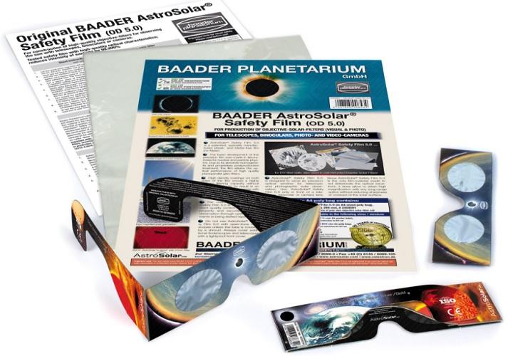 """Filtro de poliéster aluminizado do tipo Baader (marca). Comercializado na forma de """"folha"""" e óculos. Fonte:http://www.baader-planetarium.com"""