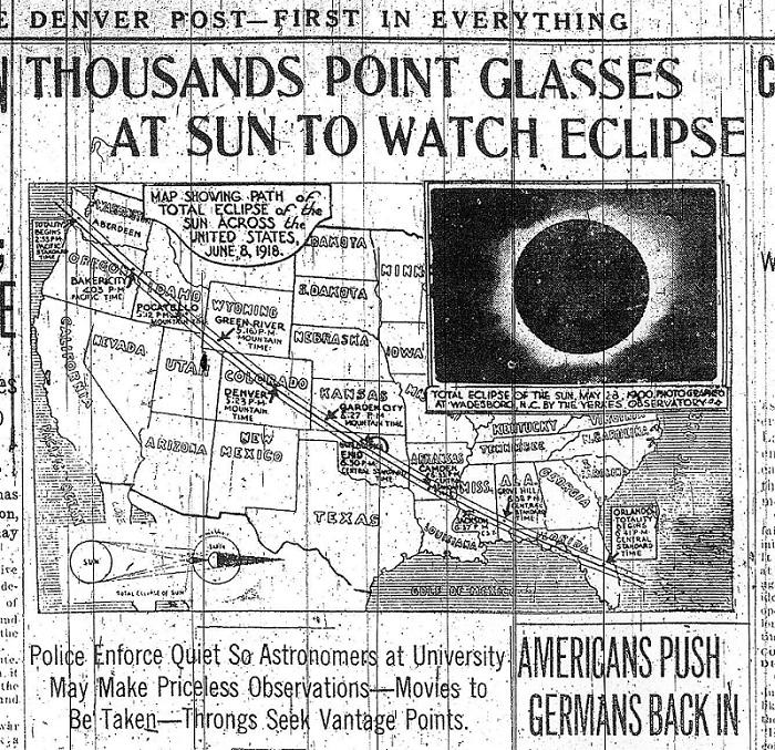 O eclipse solar total de 8 de junho de 1918 atravessou os Estados Unidos do estado de Washington para a Flórida. Este caminho é aproximadamente semelhante ao eclipse solar total de 21 de agosto de 2017 e foi a última vez que a totalidade cruzou a nação do Pacífico para o Atlântico.
