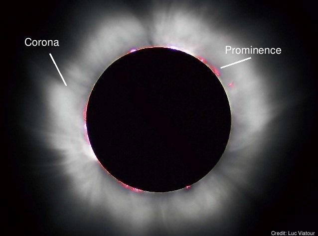 Regiões solares vistas durante um eclipse solar total - por Luc Viatour.