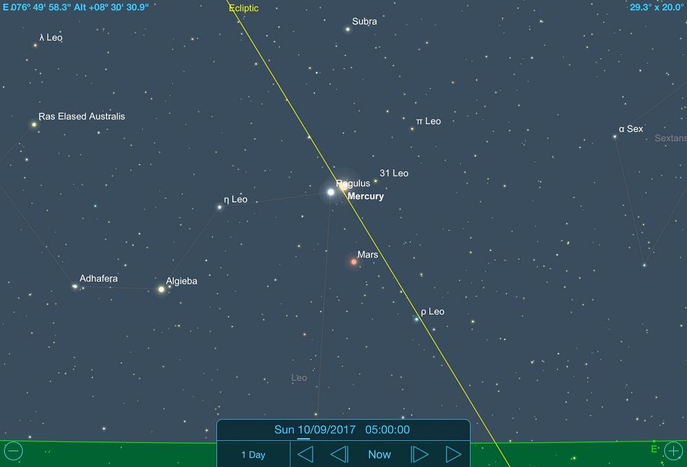 10-09-2017 - Conjunção - Mercúrio e Regulus - Crédito: SkySafari Pro.