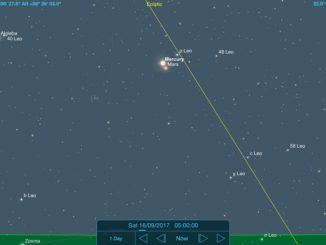 16-09-2017 - Conjunção - Mercúrio e Marte - Crédito: SkySafari Pro.