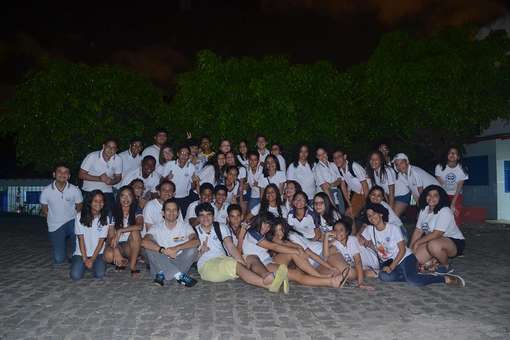 Alunos da Escola Paroquial Nossa Senhora de Fátima na aula prática de Astronomia e observação do céu - 31 de agosto de 2017 - AstroPE.