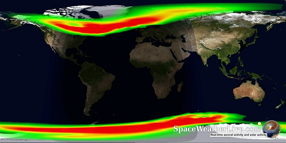 Mapa da ocorrência de auroras no polos e latitudes médias - horário e data da captura da imagem: 23:18 - 7 de setembro de 2017. Fonte em tempo real: https://www.spaceweatherlive.com/en