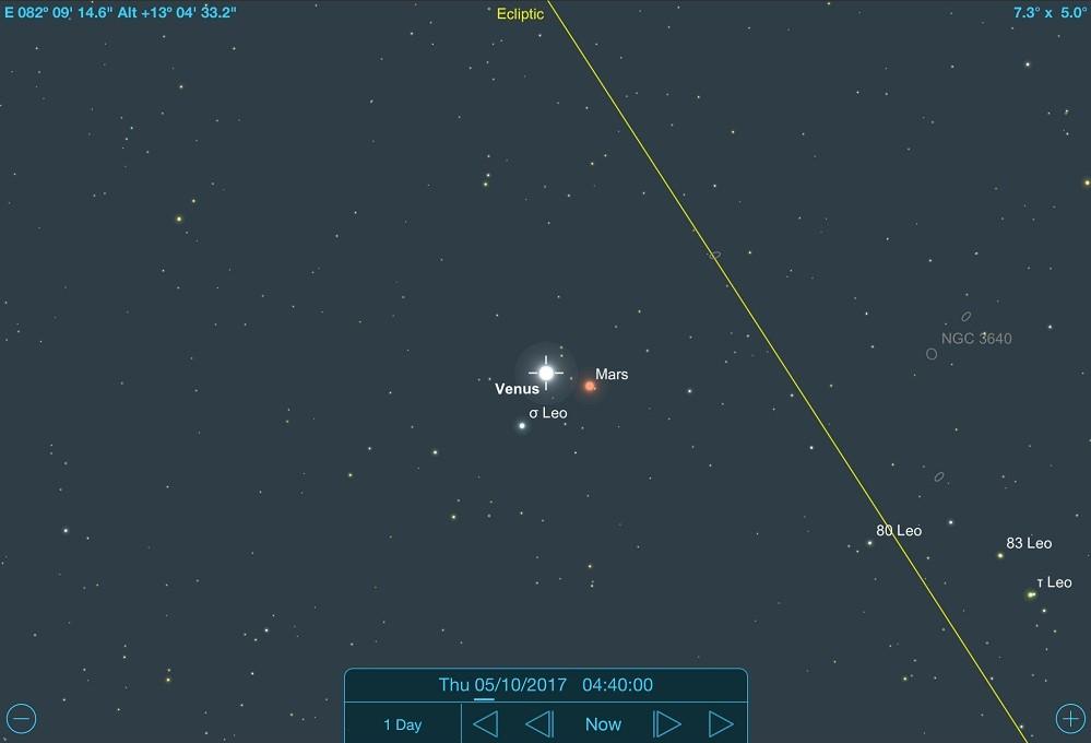 05-10-2017 - Conjunção - Vênus e Marte. Note a posição de Vênus, Marte e a estrela Sigma Leonis na imagem - Crédito: SkySafari Pro.