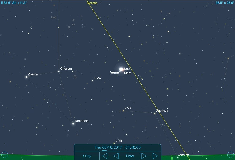 05-10-2017 - Conjunção - Vênus e Marte - Crédito: SkySafari Pro.
