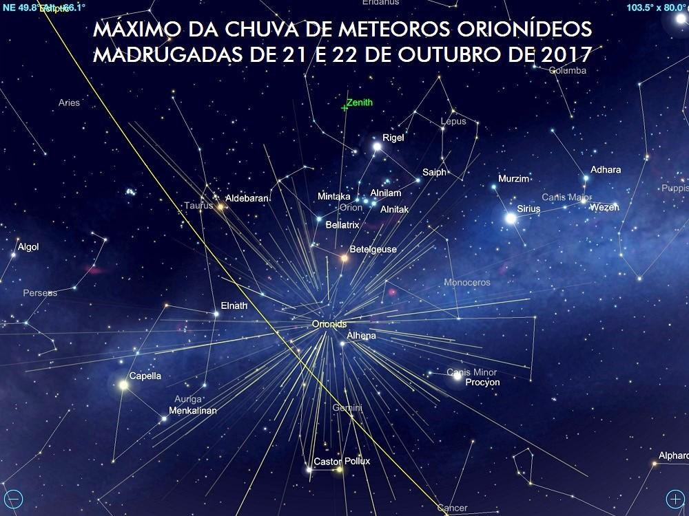 Radiante da Chuva de meteoros Orionídeos localizado na constelação Órion. O máximo do fenômeno ocorre nas madrugadas de 21 e 22 de outubro de 2017. Crédito: SkySafari Pro.