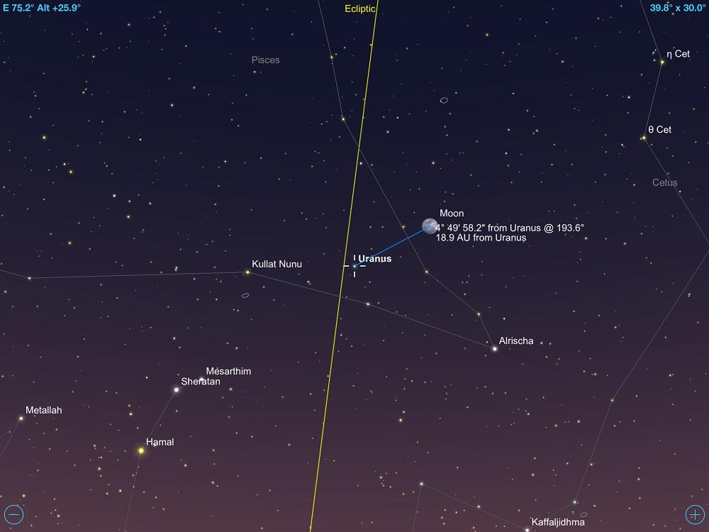 02-11-2017 - Conjunção - Lua Crescente e Urano - Crédito: SkySafari Pro.