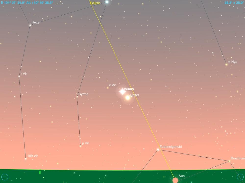 12-11-2017 - Conjunção - Vênus e Júpiter - Crédito: SkySafari Pro.