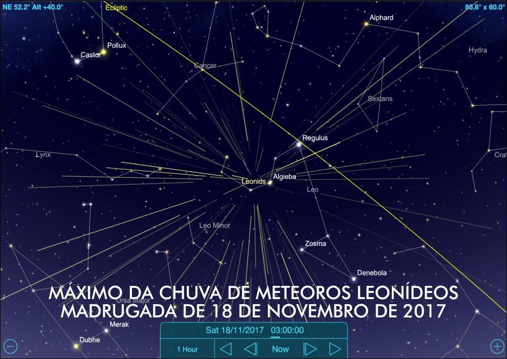 Radiante da chuva de meteoros Leonídeos localizado na constelação de Leão. O máximo do fenômeno ocorre na madrugada de 18 de novembro de 2017 - Crédito: SkySafari Pro.