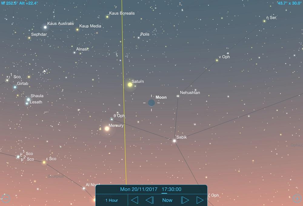 Lua em novembro de 2017 - 20-11-2017 - Conjunção - Lua, Saturno e Mercúrio - Crédito: SkySafari Pro.