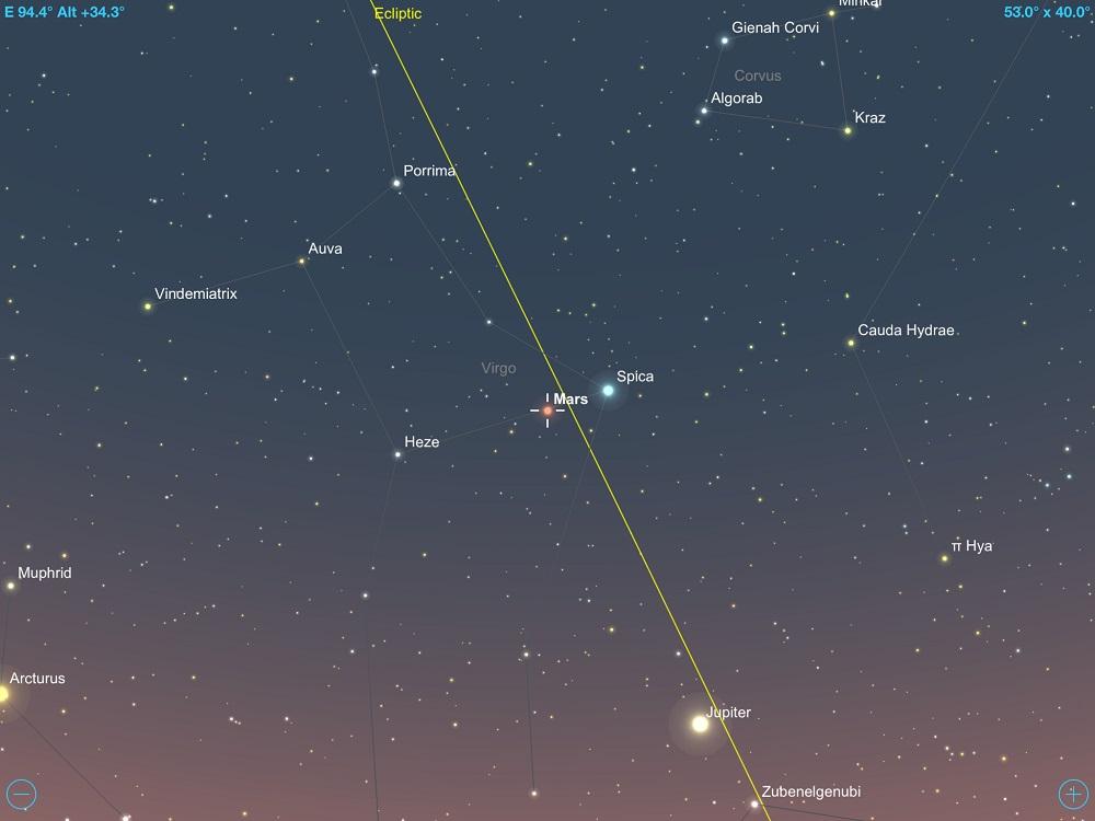 29-11-2017 - Conjunção - Marte e Spica - Crédito: SkySafari Pro.