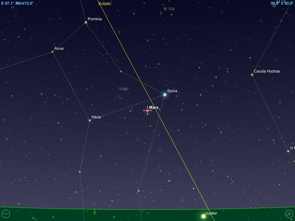 01-12-2017 - Conjunção - Marte e Spica - Crédito: SkySafari Pro.