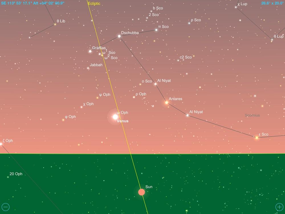 09-12-2017 - Conjunção - Vênus e Antares - Crédito: SkySafari Pro.