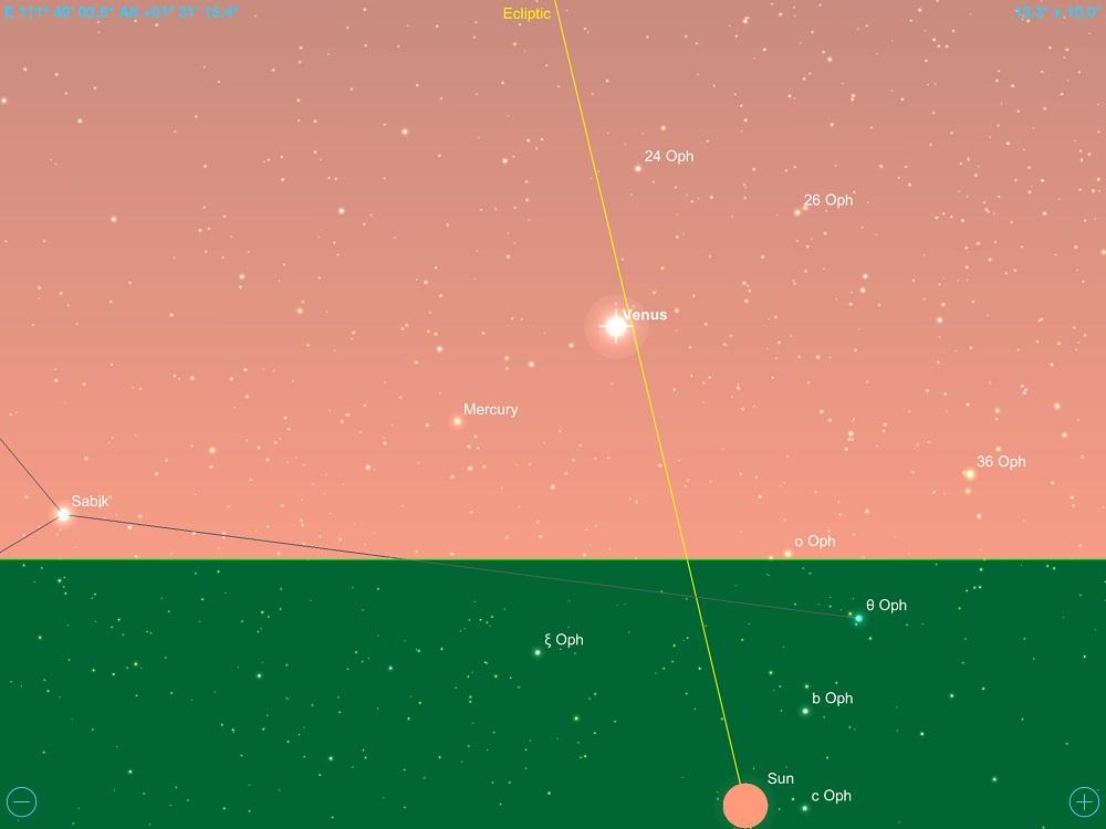 15-12-2017 - Conjunção - Vênus e Mercúrio - Crédito: SkySafari Pro.