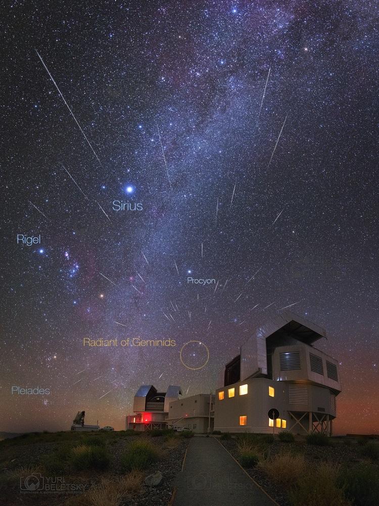 Chuva de meteoros Geminídeos sobre o Observatório Carnegie, em Las Campanas, Chile em 2015 - Crédito: Yuri Beletsky.