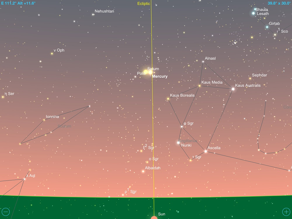 Mercúrio em conjunção com Saturno em 13 de janeiro de 2018. Crédito: SkySafari Pro 5.