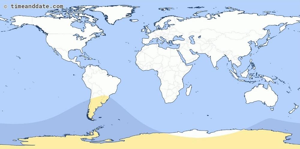 Área de cobertura doEclipse Solar Parcial de 15 de fevereiro de 2018. Crédito: TimeandDate.