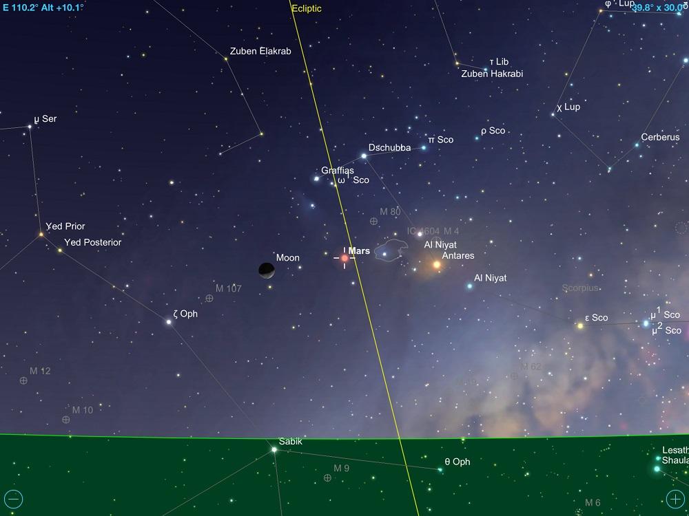 Marte, Lua Minguante e Antares (alfa de Escorpião) em conjunção tripla em 9 de fevereiro de 2018. Crédito: SkySafari Pro 5.