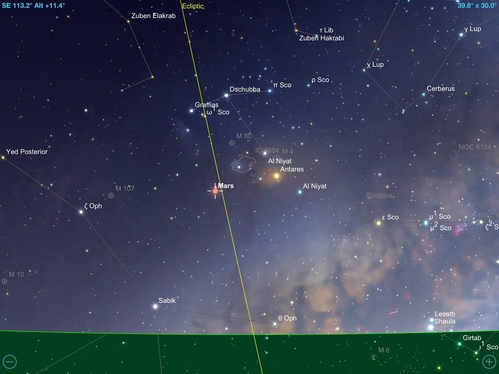 Marte em conjunção com a estrela Antares, a alfa (mais brilhante) da constelação de Escorpião em 12 de fevereiro de 2018. Crédito: SkySafari Pro 5.
