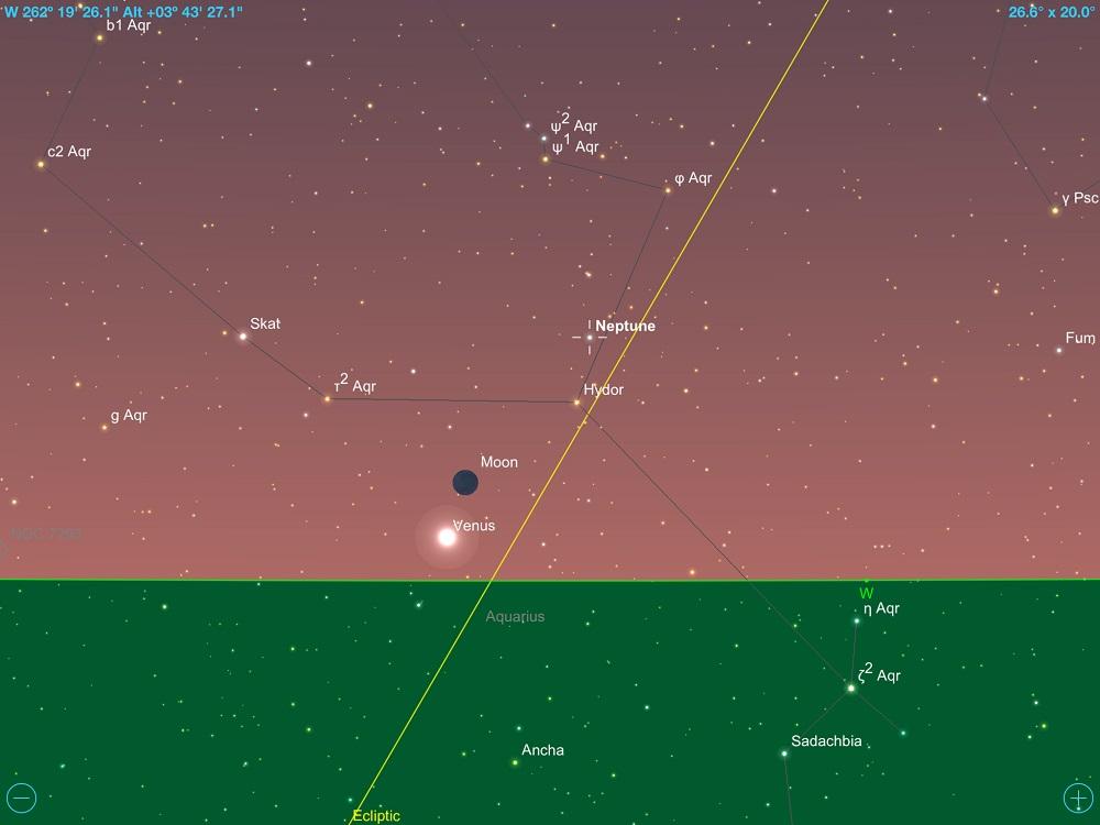 Netuno em conjunção com a fina Lua Crescente em 16 de fevereiro de 2018. Crédito: SkySafari Pro 5.
