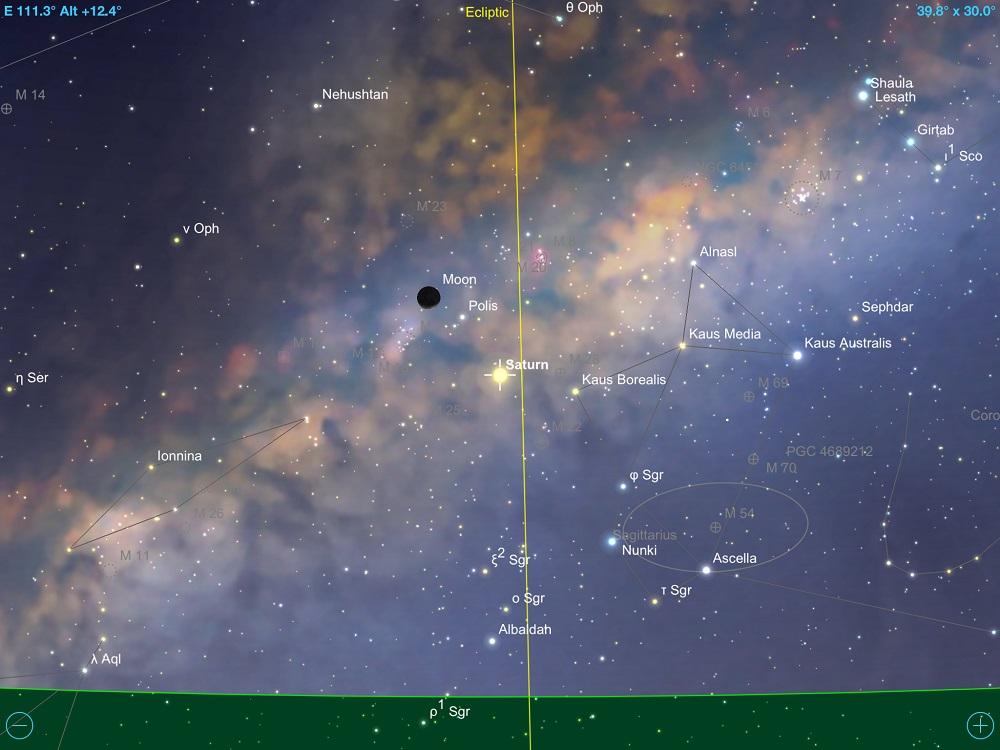 Saturno em conjunção com a fina Lua Minguante em 11 de fevereiro de 2018. Crédito: SkySafari Pro 5.