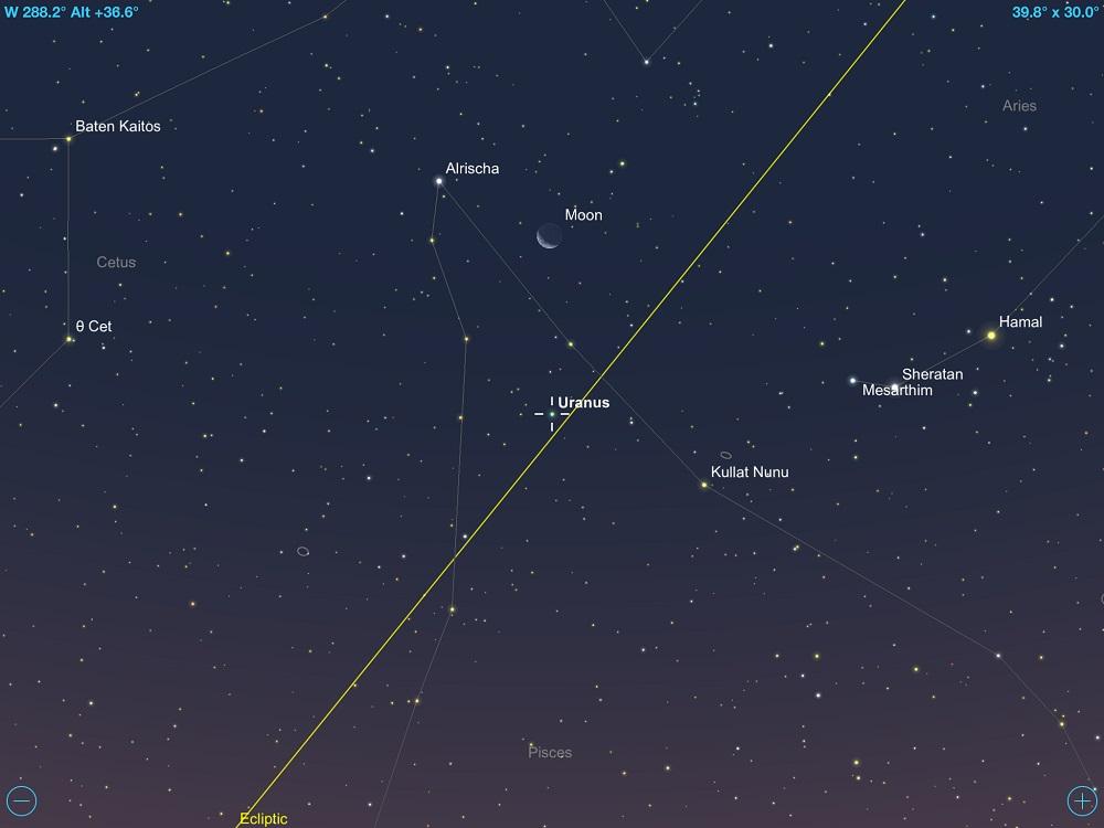 Urano em conjunção com a fina Lua Crescente em 20 de fevereiro de 2018. Crédito: SkySafari Pro 5.