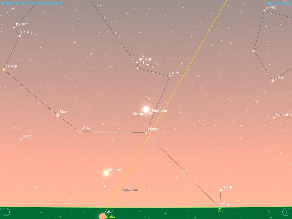 Vênus em conjunção com Netuno em 21 de fevereiro de 2018. Crédito: SkySafari Pro 5.