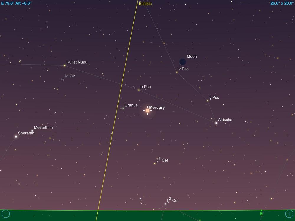 9964580af Mercúrio em conjunção com Urano e a fina Lua Minguante em 13 de maio de 2018.  Crédito: SkySafari Pro 5.