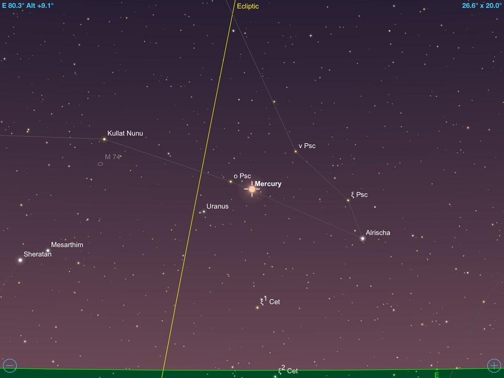 413de6c9c Mercúrio em conjunção com Urano em 12 de maio de 2018. Crédito: SkySafari Pro  5.