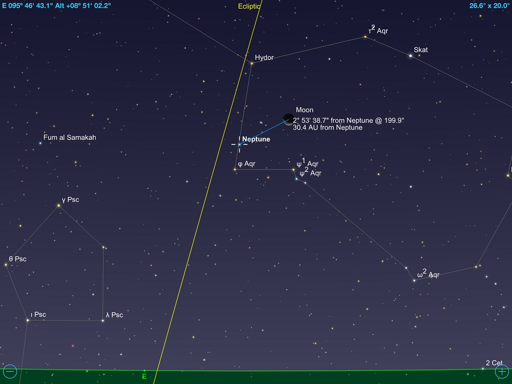 97be08efc Netuno em conjunção com a fina Lua Minguante em 10 de maio de 2018. Crédito:  SkySafari Pro 5.