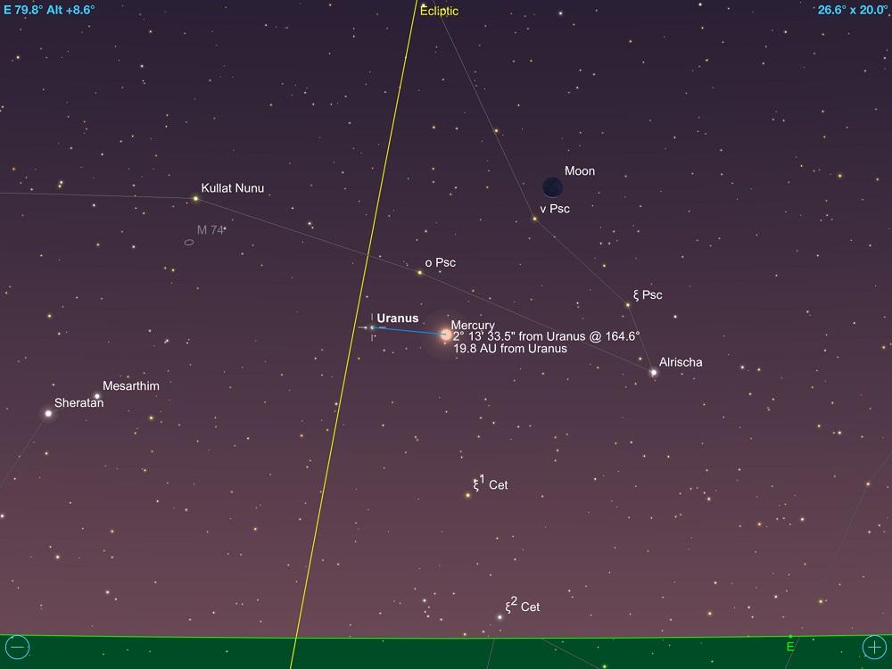 8a88da3d6 Urano em conjunção com Mercúrio e a fina Lua Minguante em 13 de maio de 2018.  Crédito: SkySafari Pro 5.