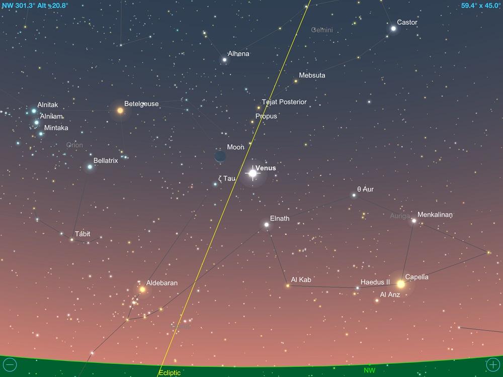 626958801 Vênus em conjunção com a fina Lua Crescente em 17 de maio de 2018. Crédito:  SkySafari Pro 5.