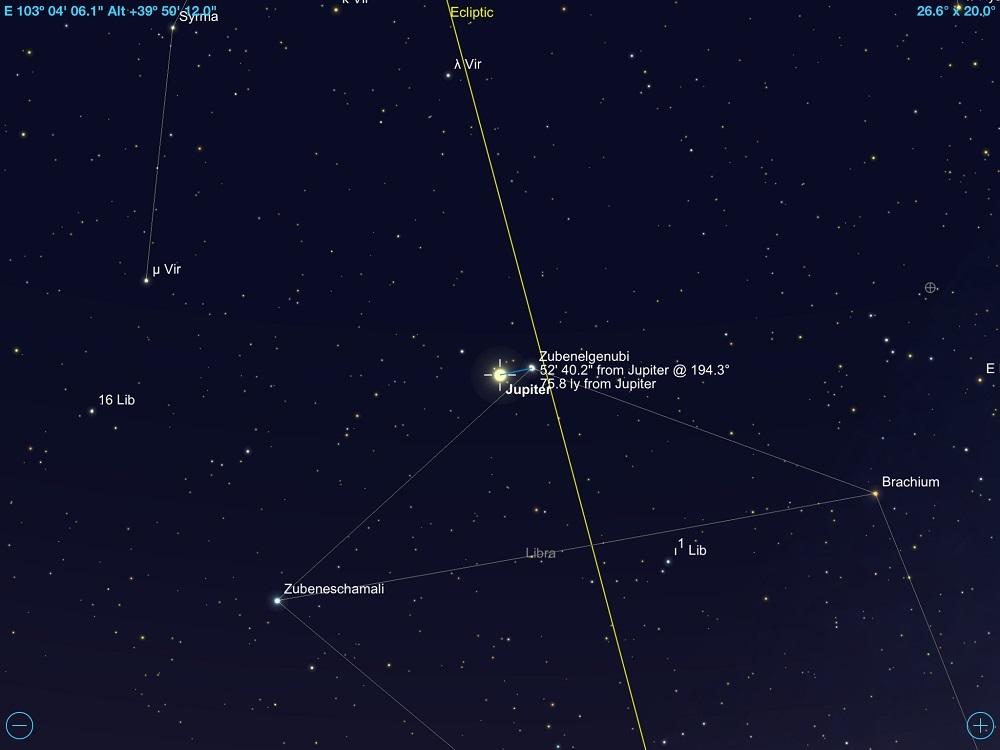 2faf5a47c Júpiter em máxima conjunção com a estrela Zubenelgenubi em 3 de junho de  2018. Crédito: SkySafari Pro 5.