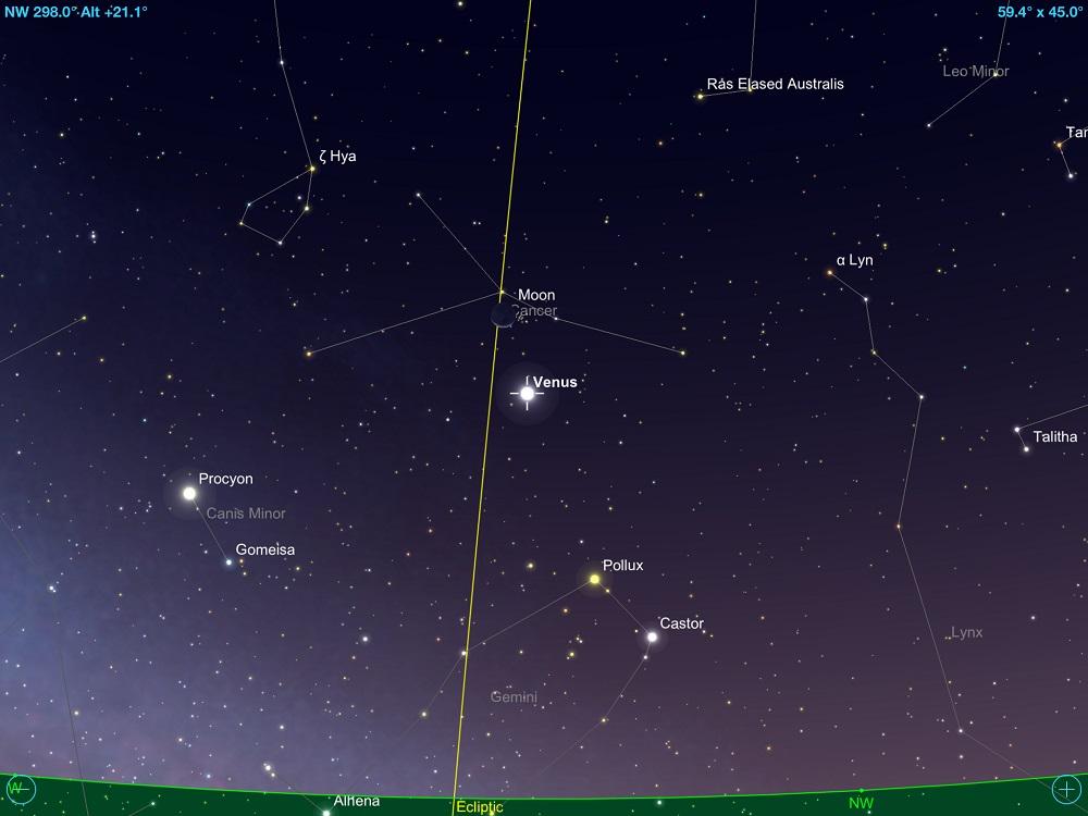 0c66d627b Vênus em conjunção com a fina Lua Crescente em 16 de junho de 2018. Crédito:  SkySafari Pro 5.