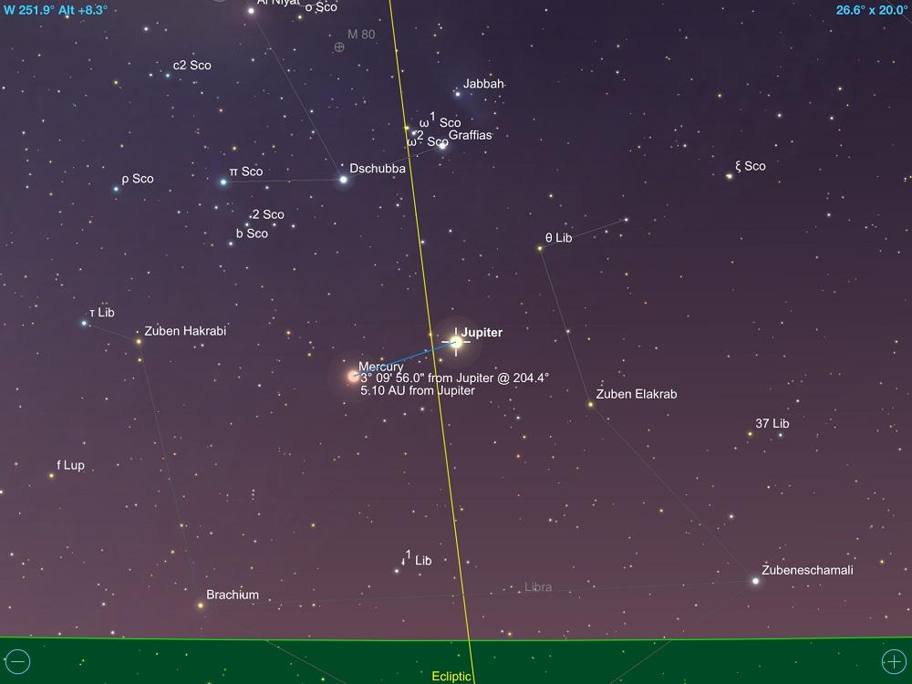 2a1a7a0ea Júpiter em máxima conjunção com Mercúrio em 28 de outubro de 2018. Crédito:  Sky Safari Pro 5.