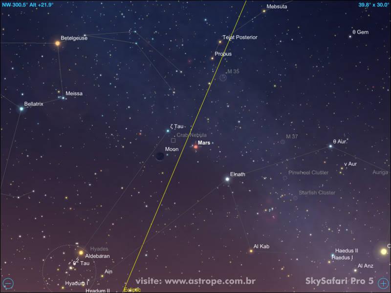3630863f4 Marte em conjunção com a fina Lua Crescente em 7 de maio de 2019. Crédito:  SkySafari Pro 5.